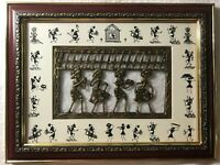 Tribal Art Fusion Warli Dhokra India Wall Decor Picture Framed