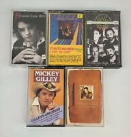 5 Country Cassette Tapes Vince Gill, Gilley, Cash, Stanley Bro, Southern Pacific
