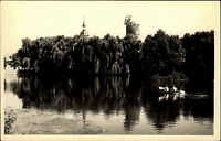 Triptis Thüringen DDR s/w Postkarte 1956 Partie am Stadtteich Boot ungelaufen