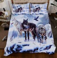 3D Winter Snow Wolves Eagle KEP6028 Bed Pillowcases Quilt Duvet Cover Kay