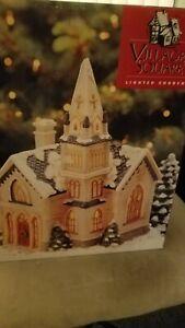 Mervyns Village Square Lighted Christmas Church 1996 In Original Box EUC