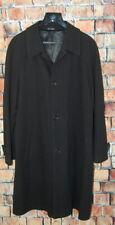 Mens 40 R HUGO BOSS Black Herringbone Full Length Wool Over Coat