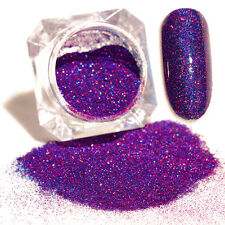 Glitter Purple Starry Holographic Laser Powder Holo 2g Nail Art Powder +Brush