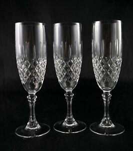 Three Elegant Vintage Lead Crystal Champagne Flutes glasses Prosecco