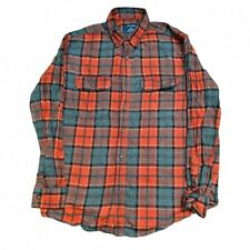 Flannel Shirt Mens Medium M Red Check Buttoned Up Faded Glory Western Grunge