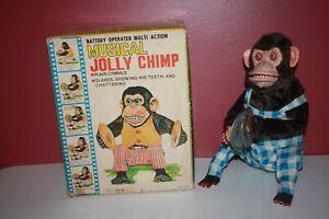 Vintage Daishin Musical Jolly Chimp Toy Story Monkey Box Japan Blue White Pants!