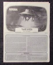 1967 Aurora FLYING SAUCER Model Kit #256 INSTRUCTION BOOKLET VG+ 4.5