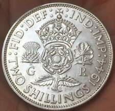 1944 Uk Great Britain George Vi Two Shillings *Au* Excellent Silver Coin