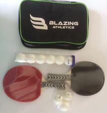 2 Blazing Athletics Table Tennis Rackets 12 Ping Pong Balls Carrying Bag