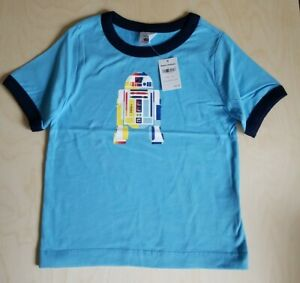 NWT HANNA ANDERSSON BLUE STAR WARS R2D2 GRAPHIC RINGER TEE SHIRT 100 4 NEW!