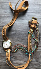 LA MER COLLECTIONS Women's Tan Leather Wrap Chain Watch with Teal Stones NEW