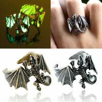 Unisex Adjustable Punk Ring Pterosaur Luminous Gothic Finger Rings Jewelry Gift