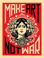 """Shepard Fairey """"Make Art Not War"""" Poster, Print 18x24"""