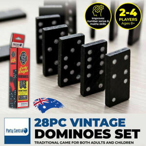 28Pcs Original Classic Wooden Box Dominoes Set Traditional Indoor Family Game