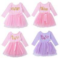 Toddlers Girls Glittery Birthday Dress Kid Casual Summer Dress Formal Party Gown