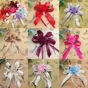 5-40pcs Big Satin Ribbon Flower Bows with Bead wedding Decoration Craft
