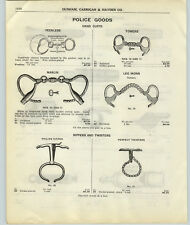 1917 PAPER AD Tower's Leg Iron Peerless Marlin Hand Cuffs Police Tools Goods +