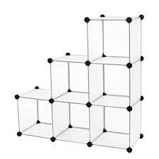 Songmics Cubes/étagère de Rangement modulables plastiques Cadre en Métal Blanc T