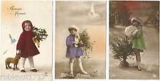 LOT 3 CPA Happy New Year postcard petits enfants en manteaux BONNE ANNEE 1134 R