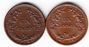 PERU 2x 1 centavo 1918 KM211 curved + 1935 KM208.2 straight Br RARE in TOP GRADE