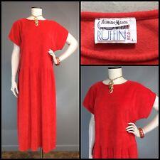 Vtg 80s Dress Clovis Ruffin Boutique Neiman Marcus Velour Terry Beach Coral L M