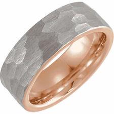 Stuller Tungsten 18K White & Rose Gold PVD 8 & 6mm Engagement Wedding Band Ring
