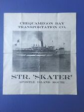 Circa 1900 Flyer, Chequamegon Bay Transportation Co. Steamship Skater,Ashland Wi
