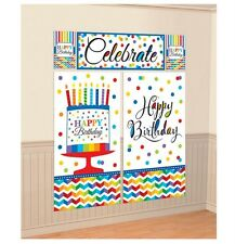 Happy Birthday Party Scene Setter Wall Decorating Kit - 670472