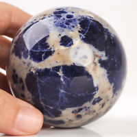 447g 67mm Natural Blue Sodalite Crystal Sphere Healing Ball Chakra Decor
