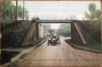 French Car Race 1906 Postcard: Circuit de la Sarthe - Railroad Bridge, Vibraye
