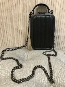 Authentic COACH Alie Camera Bag Black Quilted Leather Crossbosy Bag