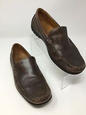 ECCO Mens Sz 43 9/9.5 Brown Leather Slip On Driving Moccasins Loafer Shoes
