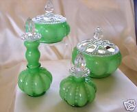 "FENTON GLASS""MINT""1940s""GREEN OVERLAY'711""PERFUME*COLOGNE*POWDER*8pc""VANITY SET"