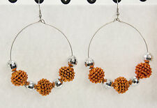 Jumbo big disco ball beaded earrings door knocker hoop orange shambala sparkle