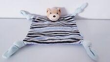 Doudou plat carré Kaloo ours bleu gris rayures Neuf