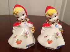 Vtg 1940's Hull Pottery #135889 Little Red Riding Hood Range Salt Pepper Shakers