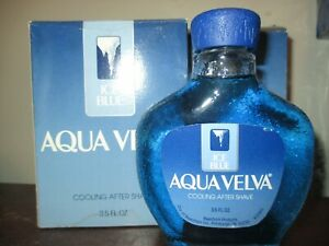 2x VTG 3.5 OZ AQUA VELVA BEECHAM ICE BLUE COOLING AFTER SHAVE GLASS BOTTLE