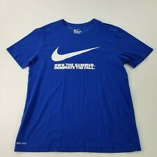 Nike Mens Dri-Fit 'Own The Summer Dominate The Fall' Blue T-Shirt Size L Large