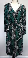 Lane Bryant Womens 22/24 Green Black Polyester Spandex Career Casual Wrap Dress