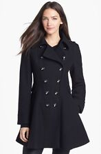 Via Spiga Black Wool Blend Double Breasted Coat Size 12