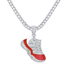 """Silver Plated Iced Basketball Shoe Pendant 24"""" Tennis Chain Necklace TMP 716 S"""