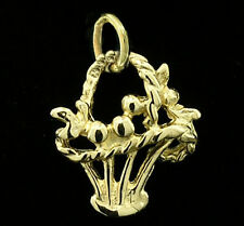 C043 Genuine 9K Solid Yellow Gold Adorable Flower Basket Charm with jumpring