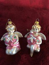 Exceptional Pair Lot Glass Sweet Baby Girl CHERUB ANGELS Christmas ORNAMENT