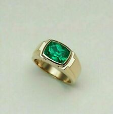 SOLITAIRE MEN'S ENGAGEMENT WEDDING BAND 14K YELLOW GOLD PLATED 3.11 CT EMERALD