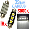 10 Ampoule Navette 39mm 5000k LED SMD 3x5050 Blanc Compteur Voiture PLAQUE 2C9 2