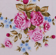 1/2 metre PINK ROSES Bunches Blue Forget Me Not Flowers Pale Pink Quilt Fabric