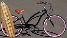 Fito Marina Alloy 7-speed - Black/Pink, Aluminum Light Weight Beach Cruiser Bike