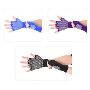 1 pair women cotton yoga fingerless non anti slip grip gloves sport exercise *BI