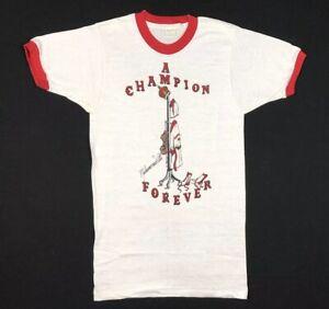 Vtg 70s Muhammad Ali Champion Forever Womens T-Shirt Sz Small Boxing Ringer Tee