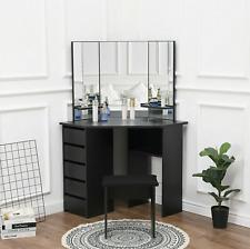 Corner Dressing Table Set Large Mirror Tables Vanity Drawers Makeup Desk Dresser